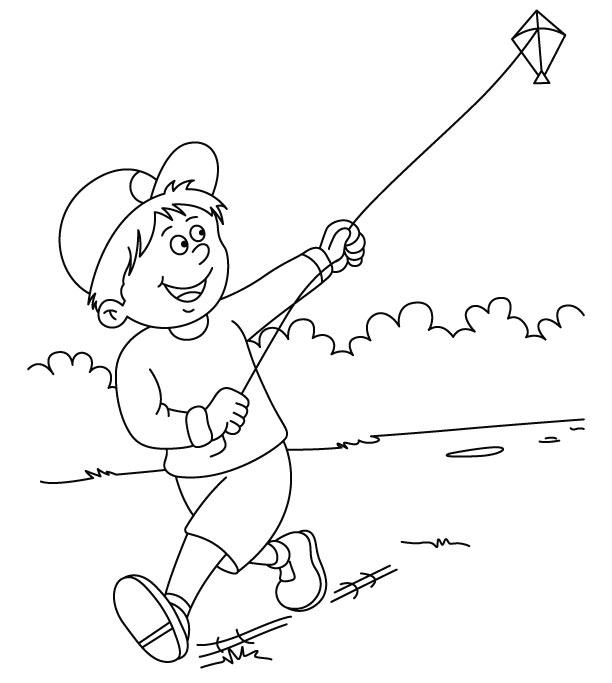 Kids Playing Kite Coloring Pages