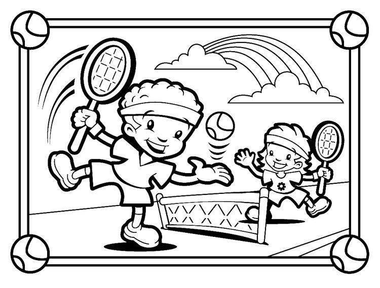 Kids Playing Tennis Coloring Pages