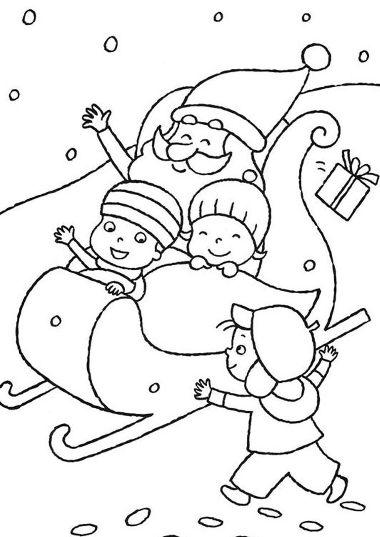 Kids Playing With Santa Claus Coloring Pages