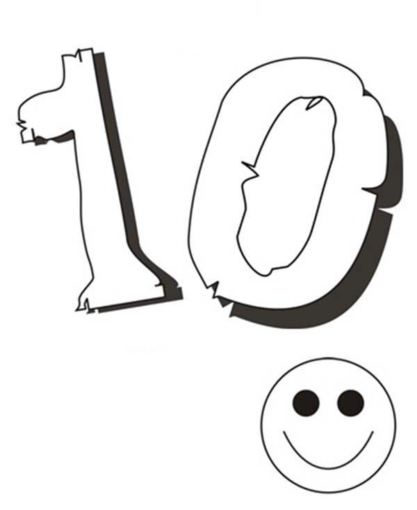 Kids Smile For Number 10 Coloring Page