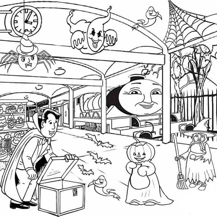 Kids Thomas The Train Halloween Coloring Pages