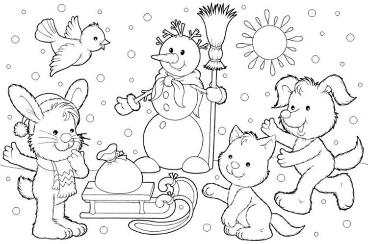 Kids Winter Coloring Page