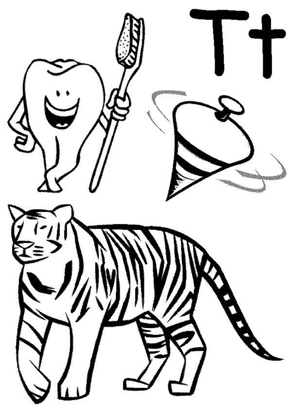 Kindergarden Kids Learn Letter T Coloring Page
