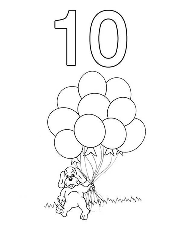 Kindergarden Kids Learn Number 10 Coloring Page