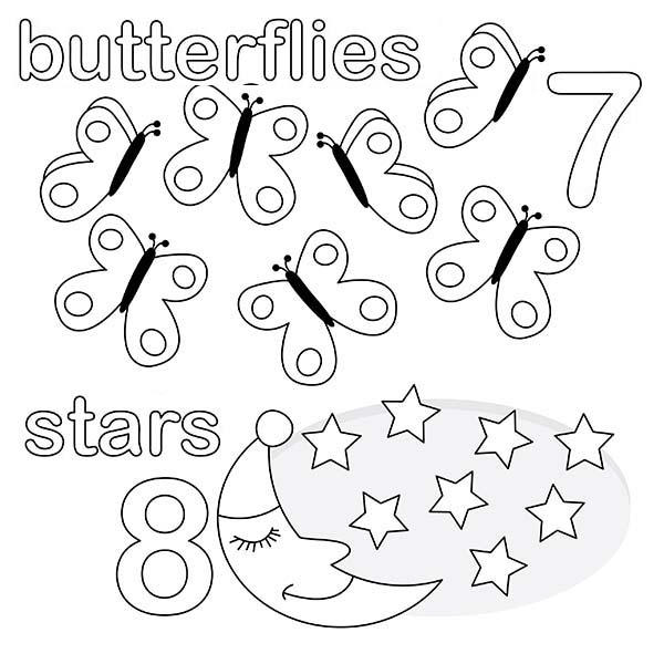 Kindergarden Kids Learn Number 8 Coloring Page