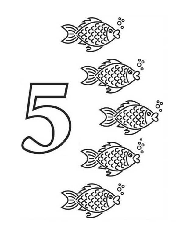 Kindergarden Kids Learning Learn Number 5 Coloring Page
