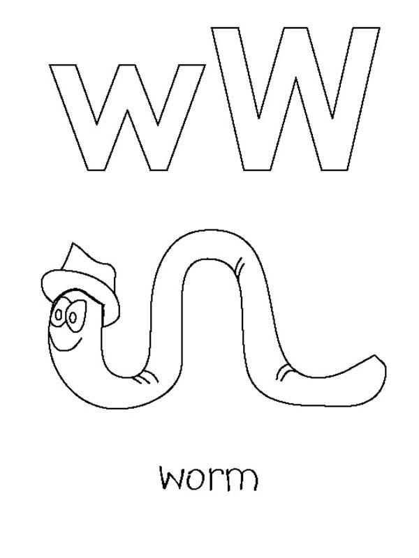 Kindergarden Kids Letter W For Worm Coloring Page