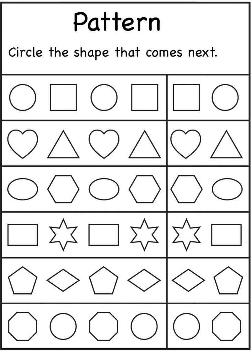 Kindergarten Worksheets Patterns