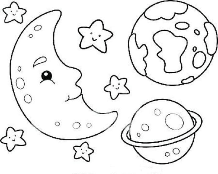 Kindergarten Coloring Pages Space