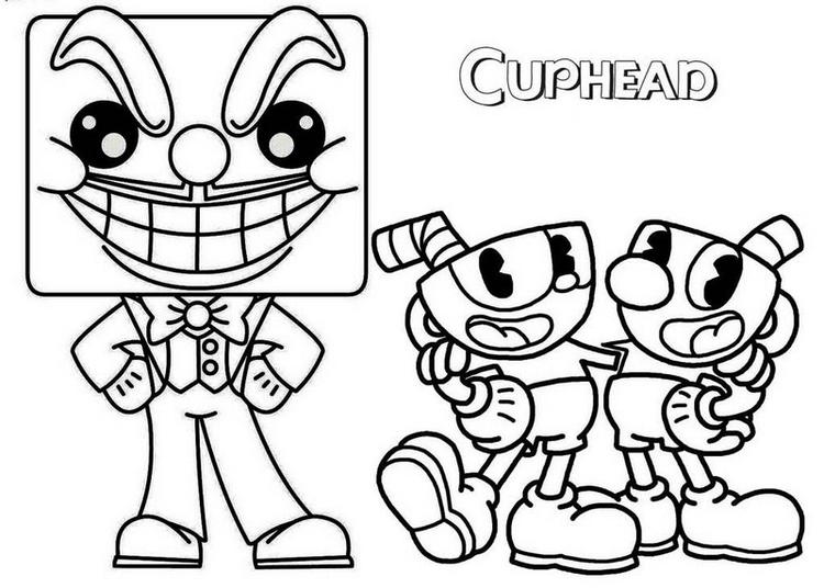 King Dice Cups And Mugman Coloring Page