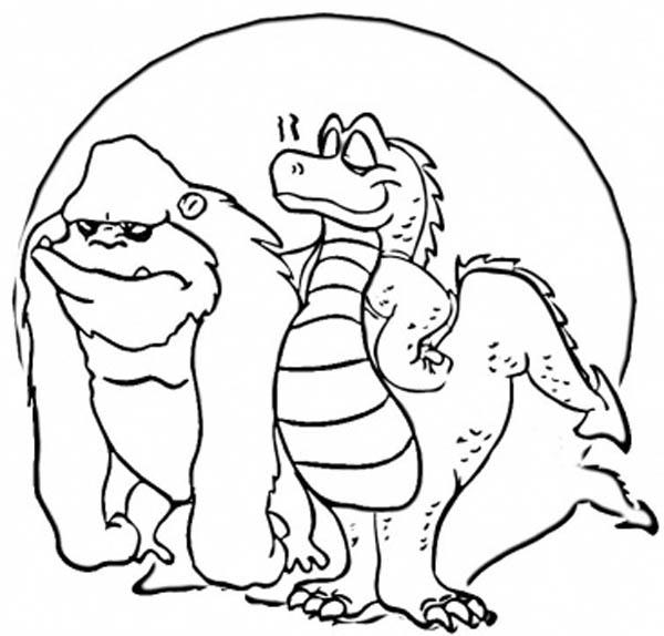 King Kong And Godzilla Take A Picture Before Fight Coloring Pages