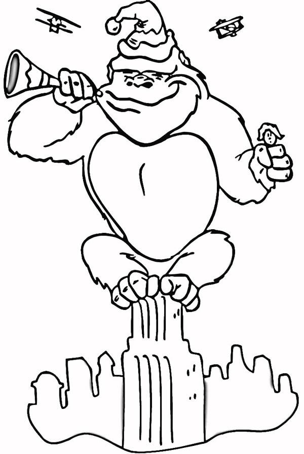 King Kong Blowing New Year Horn Coloring Pages