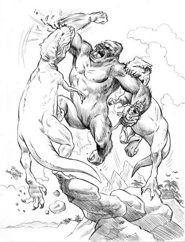 King Kong Fight To Death With Two Dinosaur Coloring Pages