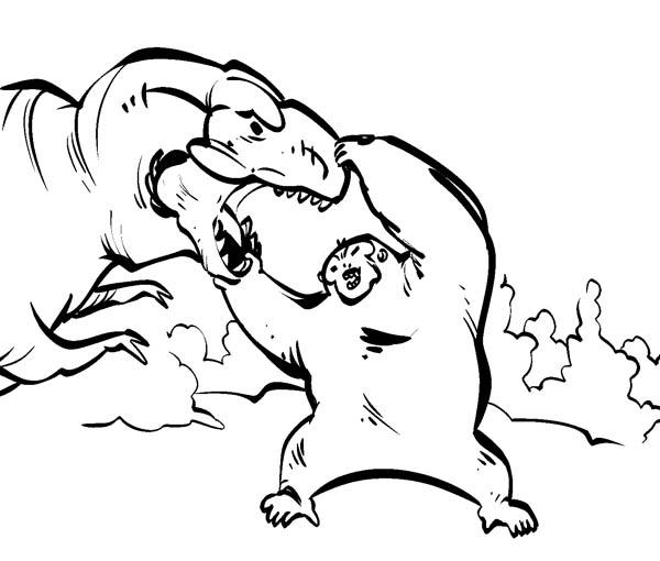 King Kong Open Dinosaur Mouth Wide Coloring Pages