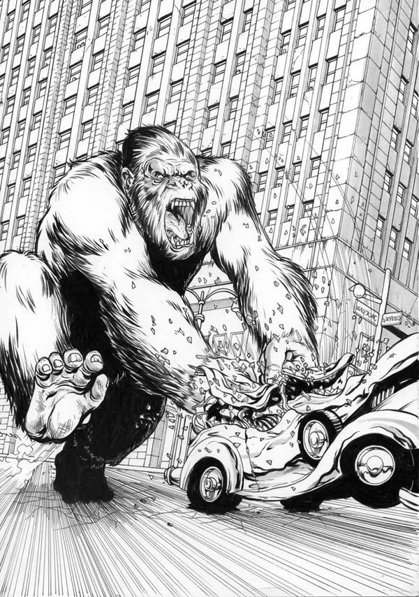 King Kong Smash Car Into Another Car Coloring Pages