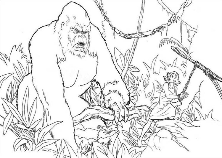 King Kong Tie Ann Darrow To A Tree Coloring Pages