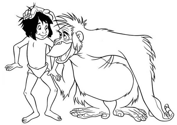 King Louie Rub Mowgli Head In Jungle Book Coloring Pages