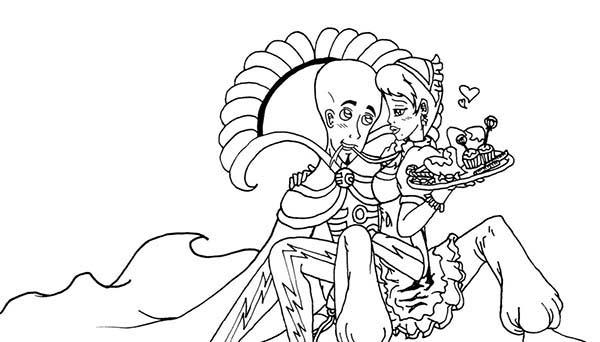King Megamind And His Maid Coloring Pages
