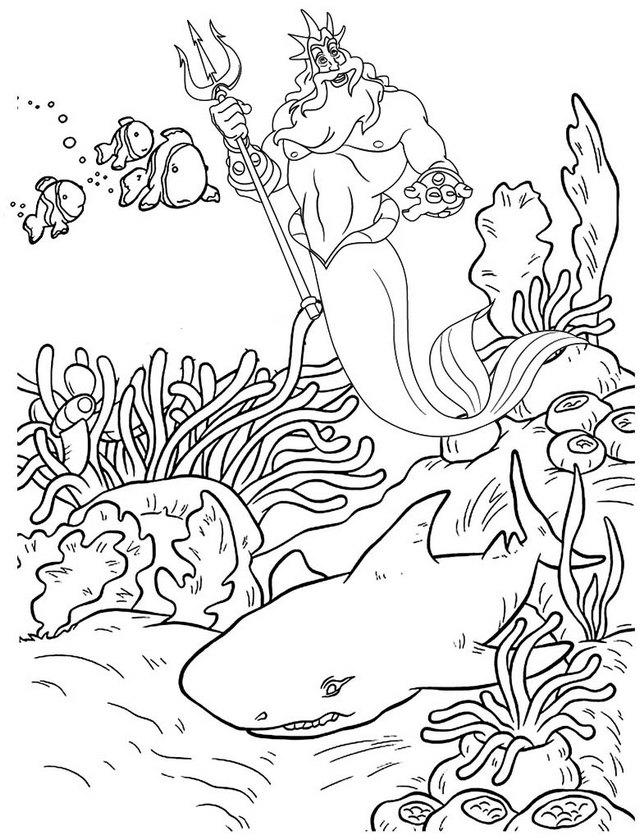 King Triton And Beautiful Coral Reef Coloring Page