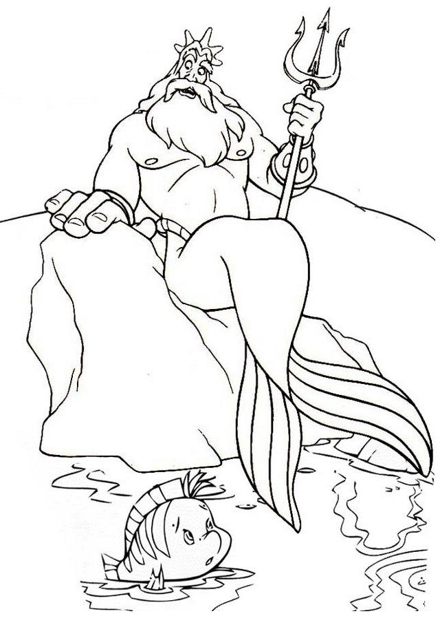 King Triton And Flounder Appearing On The Sea Level Coloring Page