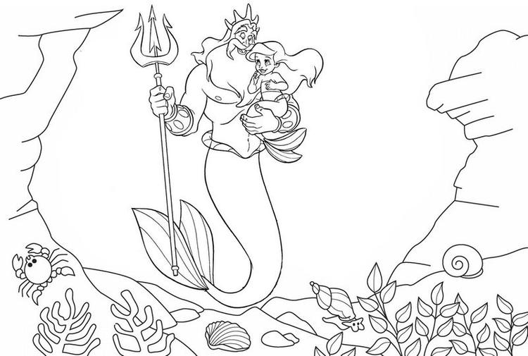 King Triton Carrying Baby Ariel Coloring Page