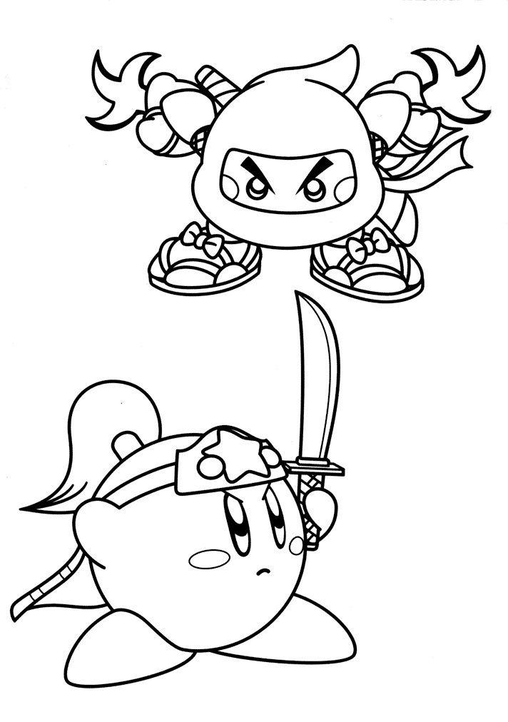 Kirby Coloring Pages Ninja And Sword