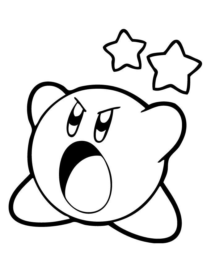 Kirby Coloring Pages With Stars