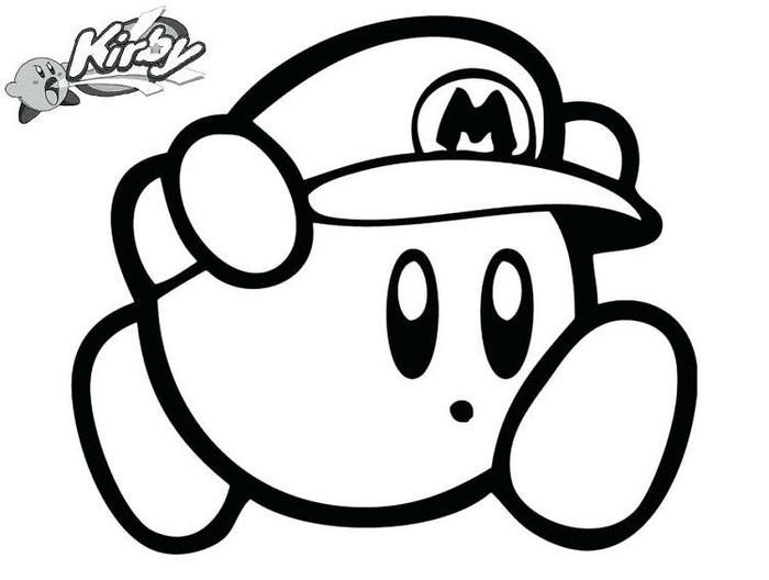 Kirby Mario Coloring Pages
