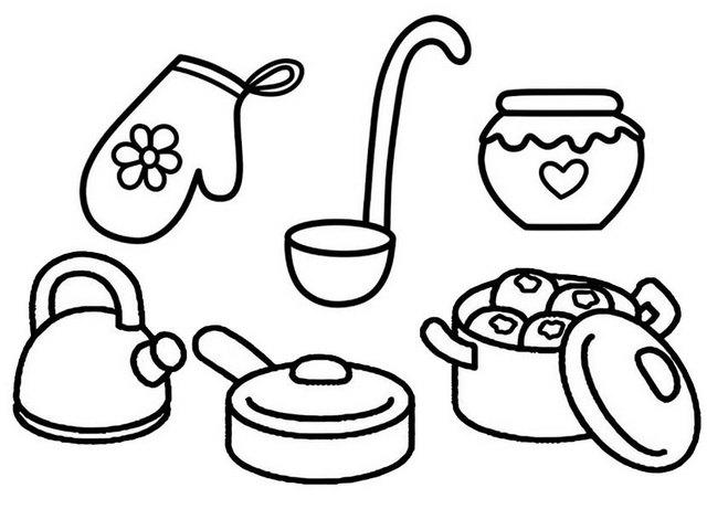 Kitchen Cooking Utensils And Tools Dining Coloring Page
