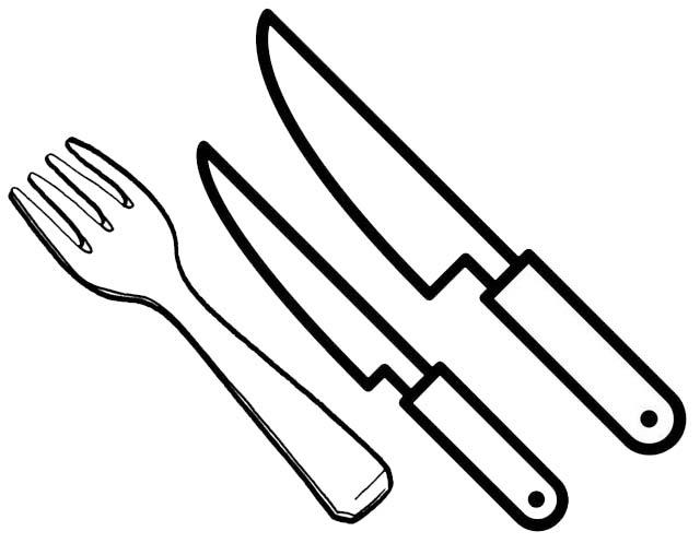 Kitchen Utensils Fork And Knives Coloring Page