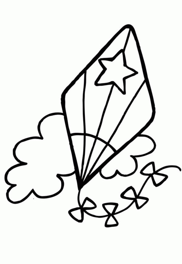 Kite Coloring Pages With Clouds