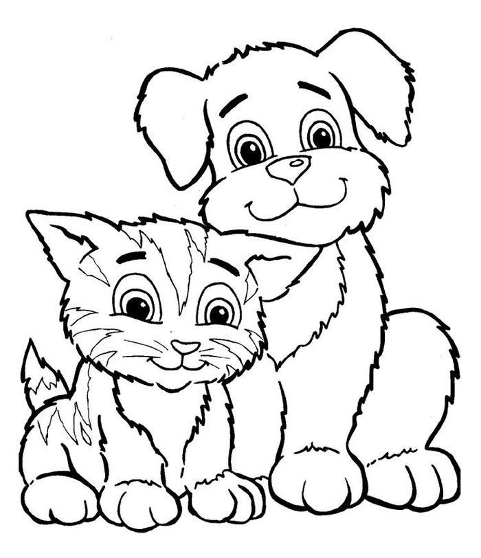 Kitten And Puppy Coloring Pages For Kids