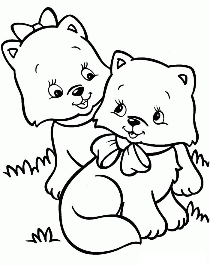 Kitten Coloring Pages Two Kittens