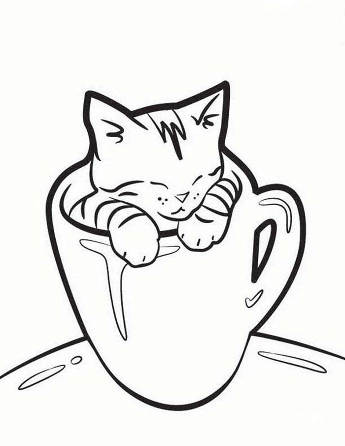 Kittens In A Cup Coloring Pages