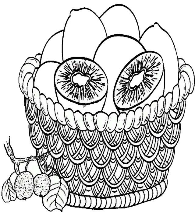 Kiwi in basket coloring page