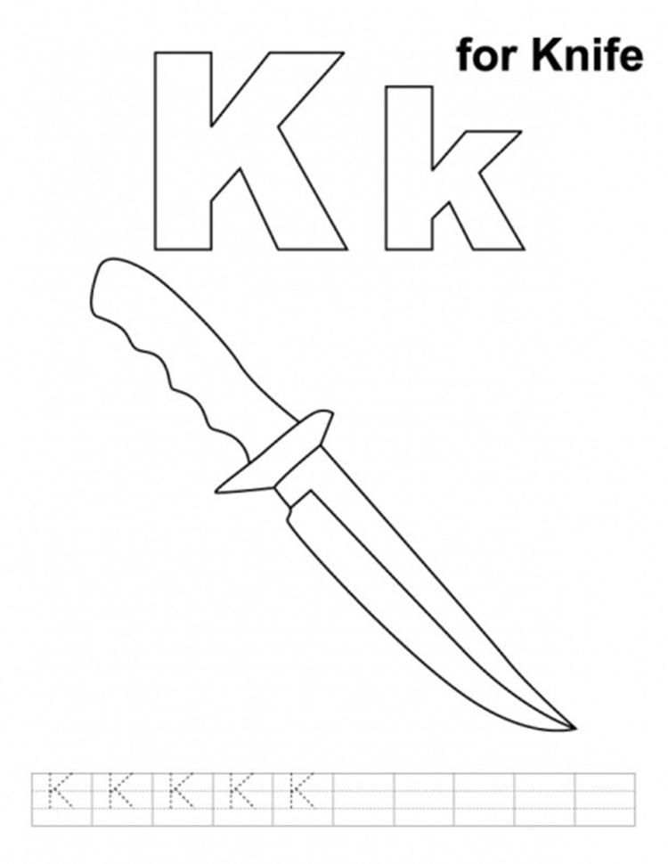 Knife Alphabet Coloring Pages Free