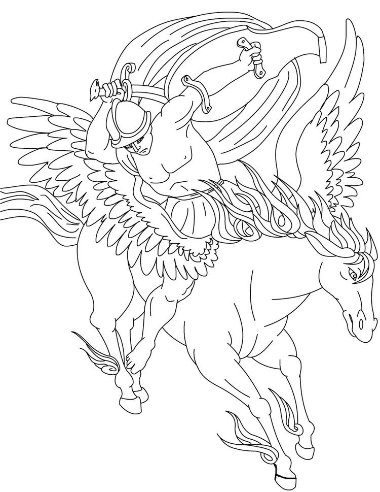 Knight And Pegasus Coloring Pages