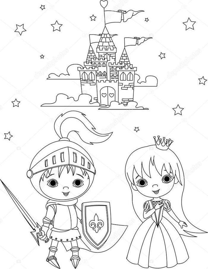 Knights And Princess Coloring Pages