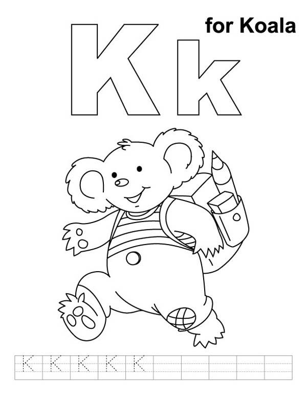 Koala For Letter K Coloring Page
