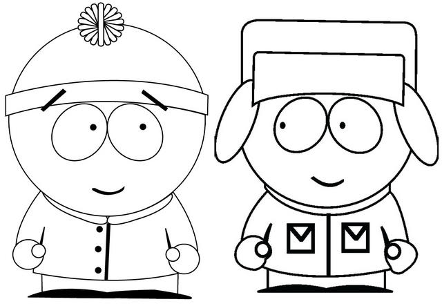 Kyle And Stan From South Park Coloring Page