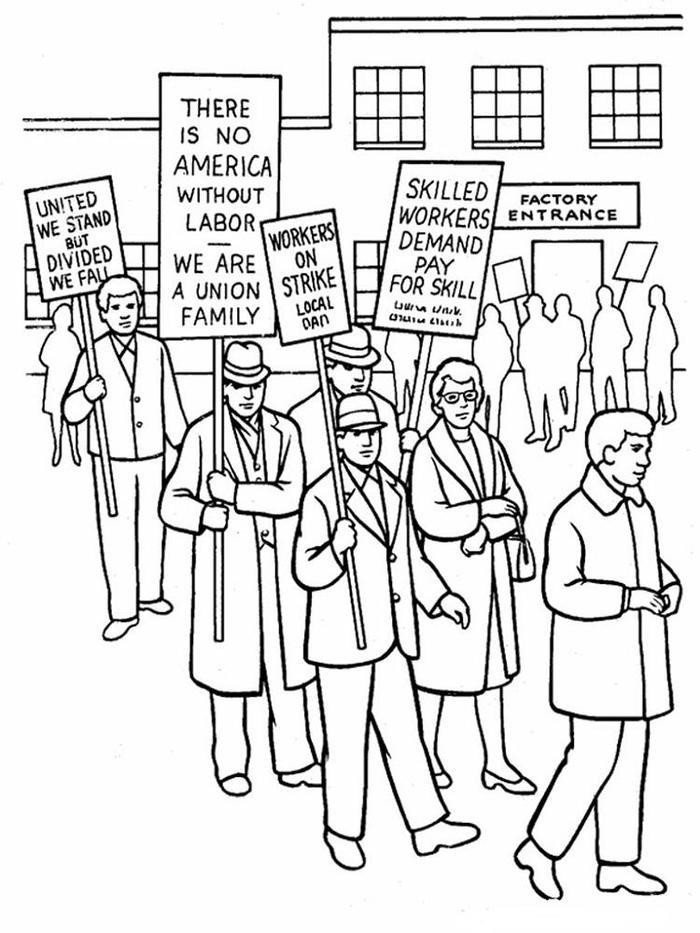 Labor Day Coloring Pages Factory Worker