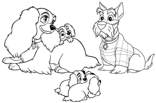 Lady And The Tramp Tsum Tsum Cartoon Coloring Page