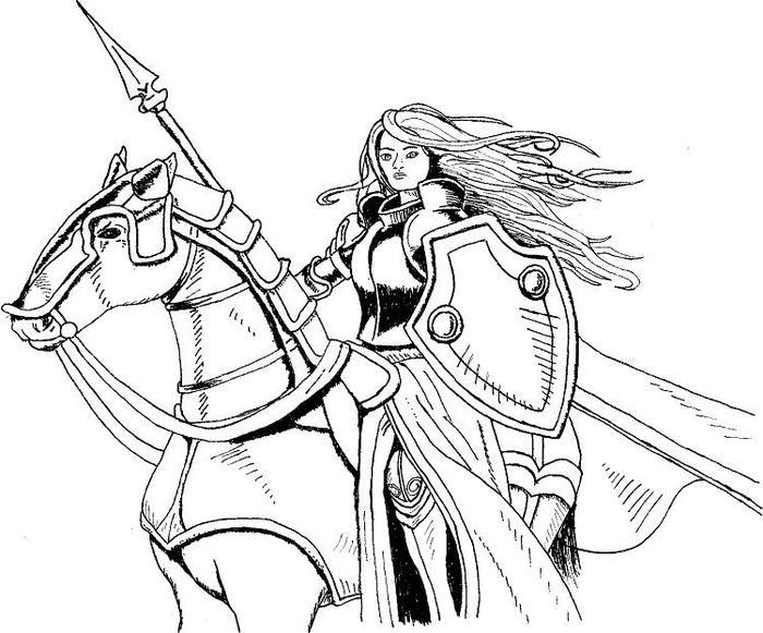 Lady Knights Coloring Pages