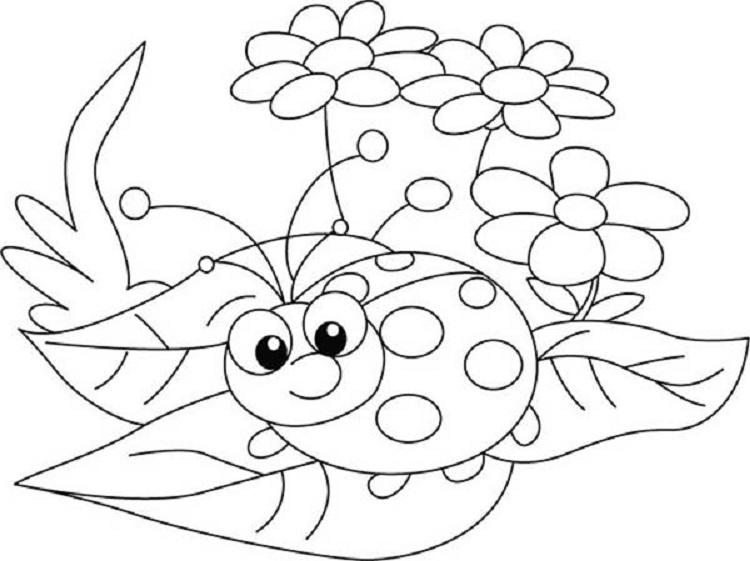 Ladybug Flower Coloring Pages