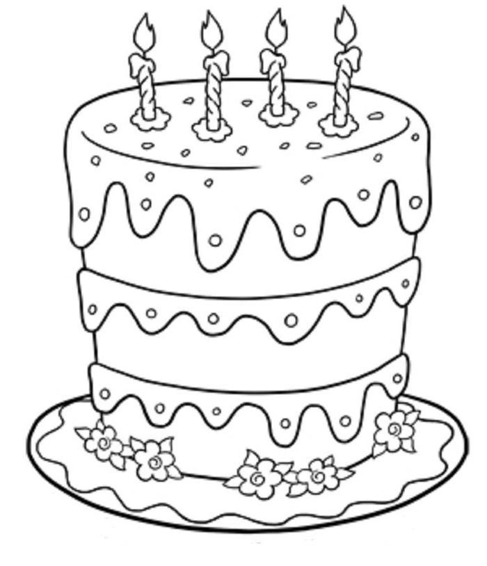 Layered Birthday Cake Coloring Pages
