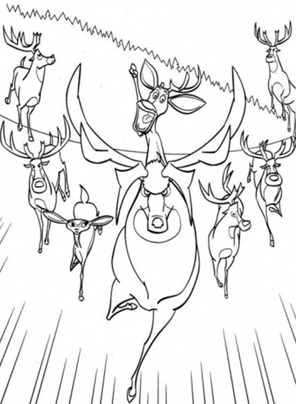 Lead By Elliot The Animals Are Running Together In Open Season Coloring Pages