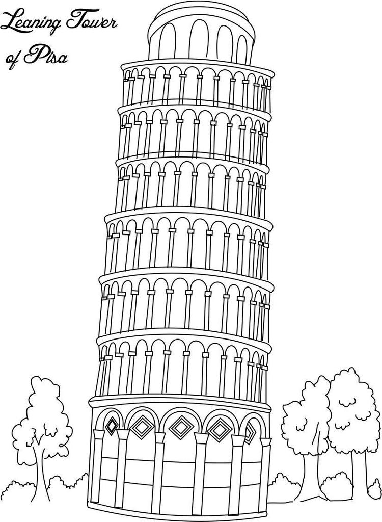 Leaning tower of pisa coloring pages