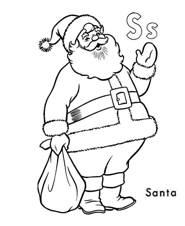 Learn Alphabet Letter S For Santa Claus Coloring Page