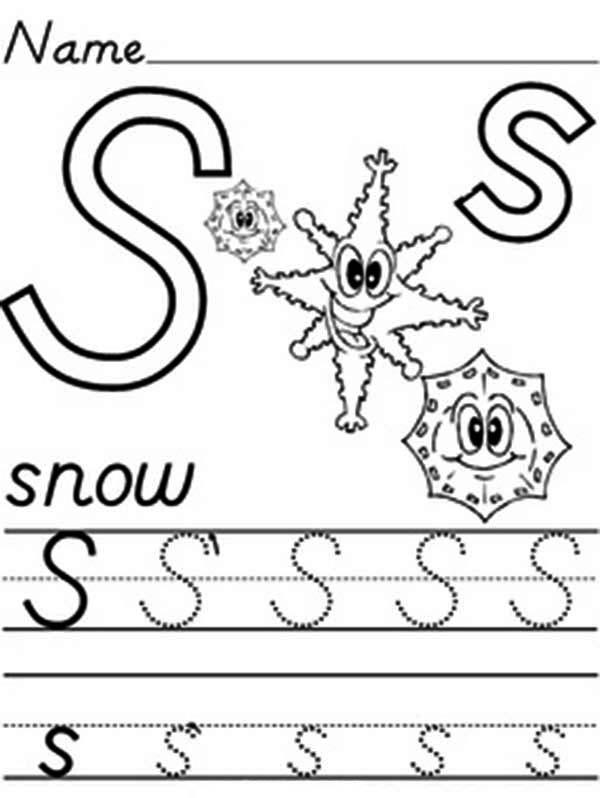 Learn Alphabet Letter S Worksheet Coloring Page
