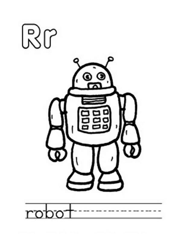 Learn Capital And Small Letter R For Robot Coloring Page